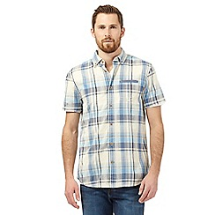 Mantaray - Big and tall yellow and blue checked print shirt and white t-shirt set