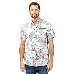 Mantaray - Big and tall multi-coloured tropical print shirt and white t-shirt set