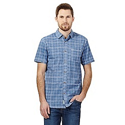 Mantaray - Blue textured check short sleeved shirt