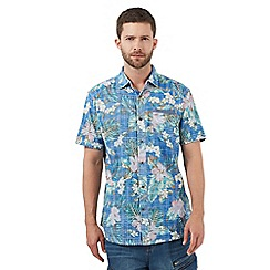 Mantaray - Big and tall blue floral print regular fit shirt