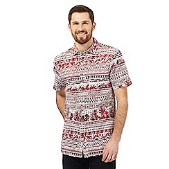 Mantaray - Big and tall red printed short sleeved shirt