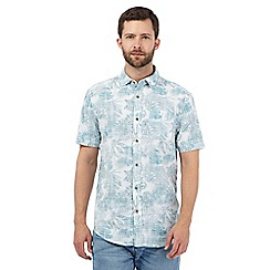 Mantaray - Turquoise tropical leaf print shirt