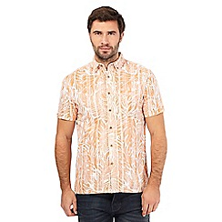 Mantaray - Orange textured leaf print shirt