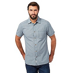 Mantaray - Big and tall grey ladder striped textured shirt