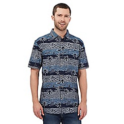 Mantaray - Navy horizontal wave print shirt