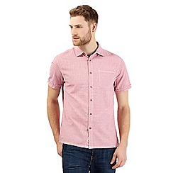 Mantaray - Big and tall pink basketweave print shirt