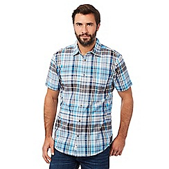 Mantaray - Big and tall turquoise checked short sleeved shirt