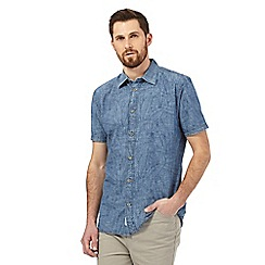 Mantaray - Big and tall blue chambray leaf print shirt