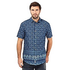 Mantaray - Big and tall navy tile print shirt
