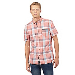 Mantaray - Big and tall pink and blue checked print pocket shirt