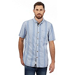 Mantaray - Big and tall blue striped print short sleeved shirt