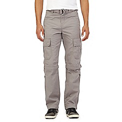 Mantaray - Big and tall grey zip off legs belted cargo trousers
