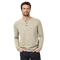 Mantaray - Big and tall beige grandad jumper