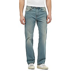 Mantaray - Big and tall light blue mid wash straight leg jeans