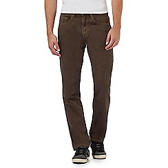 Mantaray - Big and tall brown straight leg trousers with zip-up and button detailing