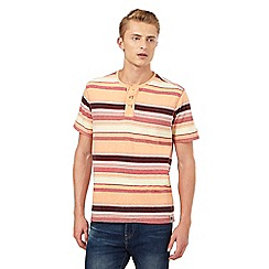 Mantaray - Big and tall orange striped print granddad top