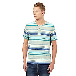 Mantaray - Green striped print granddad top