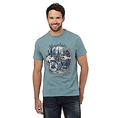 Mantaray - Big and tall light green motorcycle print t-shirt