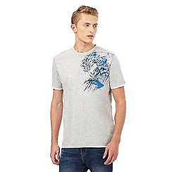 Mantaray - Big and tall grey wave print mock t-shirt