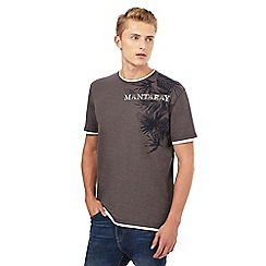 Mantaray - Dark grey tropical leaf print mock t-shirt