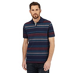 Mantaray - Navy birdseye striped print polo shirt