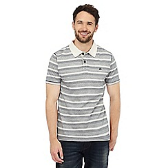 Mantaray - Big and tall grey striped print polo shirt