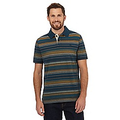 Mantaray - Dark turquoise striped print polo shirt