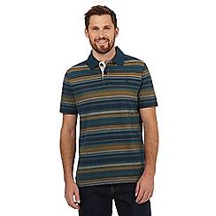 Mantaray - Dark turquoise striped print polo shirt