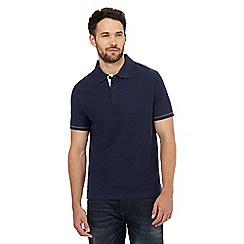 Mantaray - Navy textured herringbone polo shirt