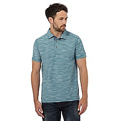 Mantaray - Dark turquoise birdseye textured polo shirt