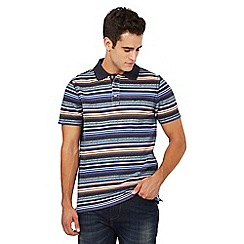 Mantaray - Big and tall blue striped print pique polo shirt