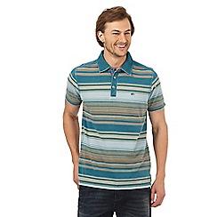 Mantaray - Big and tall dark turquoise striped polo shirt
