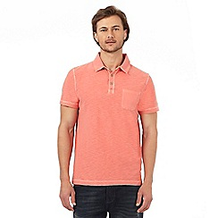 Mantaray - Peach marl textured polo shirt