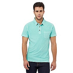 Mantaray - Green space dye textured polo shirt