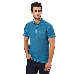 Mantaray - Dark turquoise space dye textured polo shirt