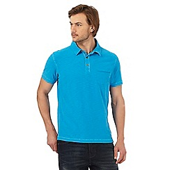 Mantaray - Bright blue marl textured polo shirt