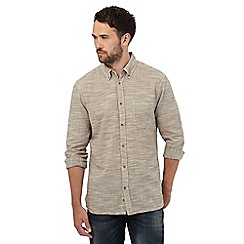 Mantaray - Big and tall beige textured regular fit shirt