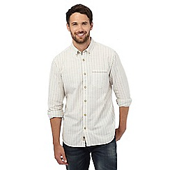 Mantaray - Big and tall off white dobby striped regular fit shirt
