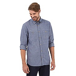 Mantaray - Big and tall blue long sleeved button down shirt
