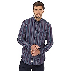 Mantaray - Big and tall navy and purple striped print shirt