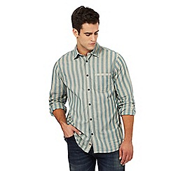 Mantaray - Big and tall light turquoise striped print regular fit shirt