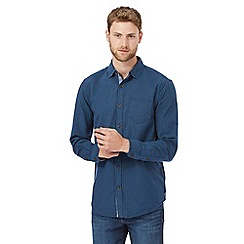 Mantaray - Dark blue basketweave texture regular fit shirt
