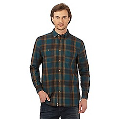 Mantaray - Dark turquoise checked long sleeved shirt