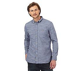 Mantaray - Blue grindle textured long sleeved shirt