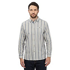 Mantaray - Cream and blue striped regular fit shirt