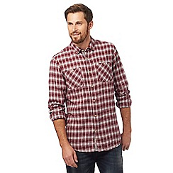 Mantaray - Dark red two tone checked print shirt