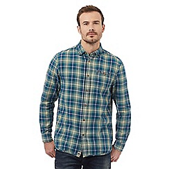 Mantaray - Green button down check print shirt