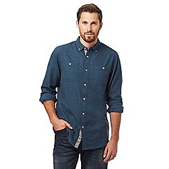 Mantaray - Dark turquoise grindle regular fit shirt