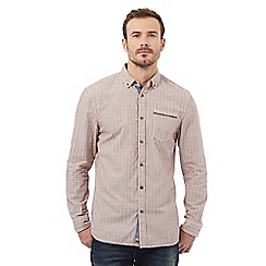 Mantaray - Red textured long sleeve button down shirt