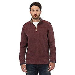 Mantaray - Dark red pique zip neck top